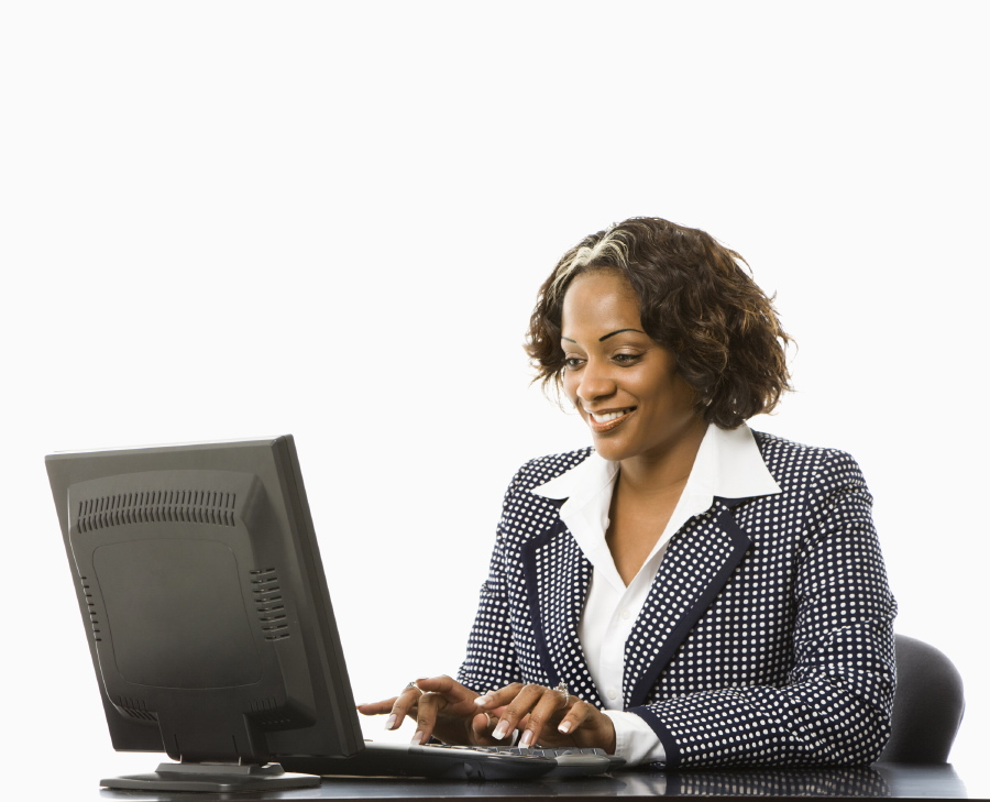 Woman training at desk
